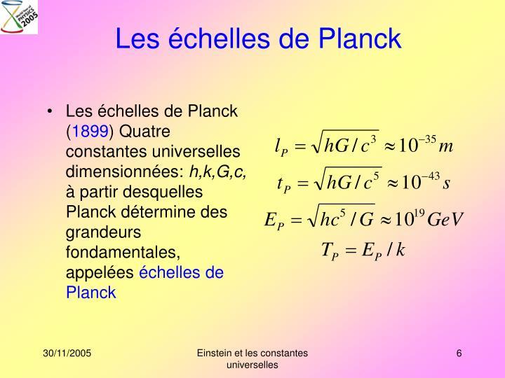 Les échelles de Planck