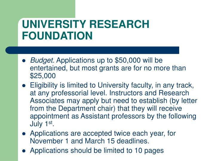 UNIVERSITY RESEARCH FOUNDATION