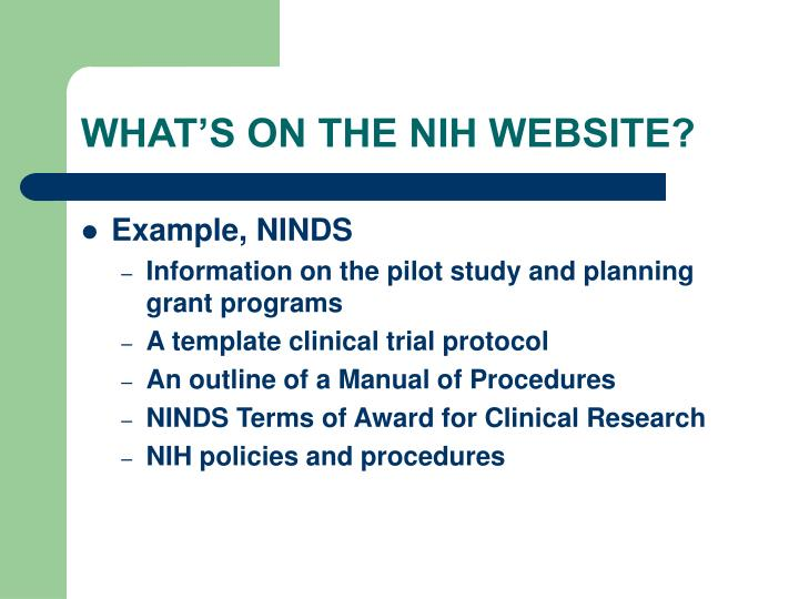 WHAT'S ON THE NIH WEBSITE?
