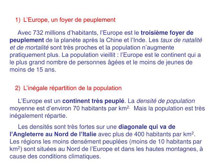 L'Europe, un foyer de peuplement