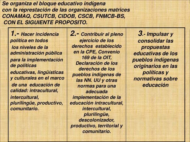 Se organiza el bloque educativo indígena