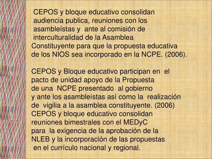 CEPOS y bloque educativo consolidan