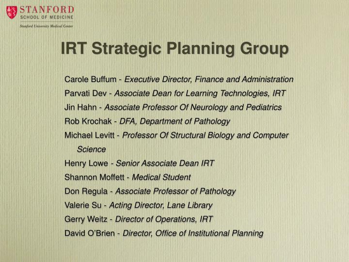 IRT Strategic Planning Group