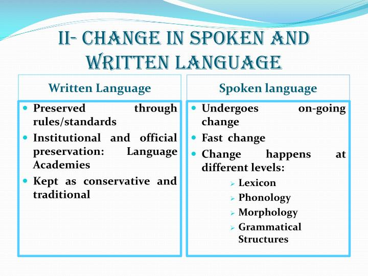 II- change in spoken and written language