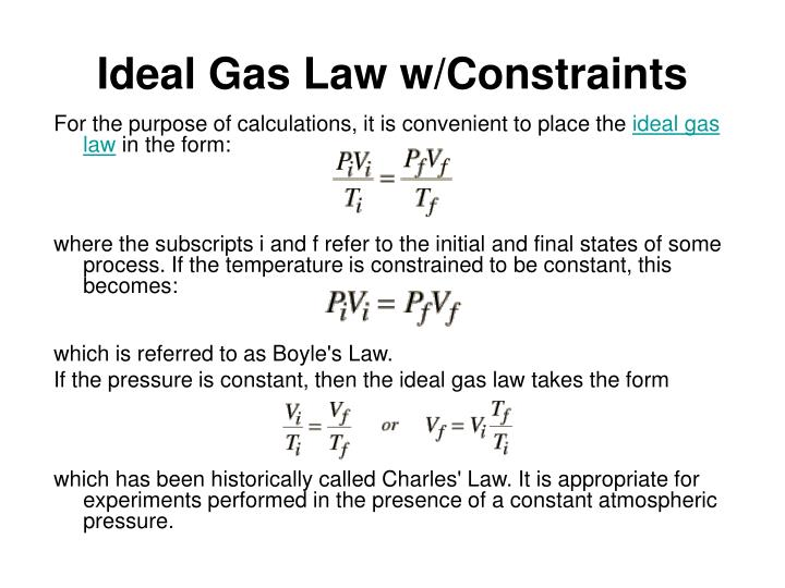 Ideal Gas Law w/Constraints