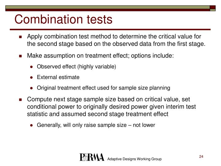 Combination tests
