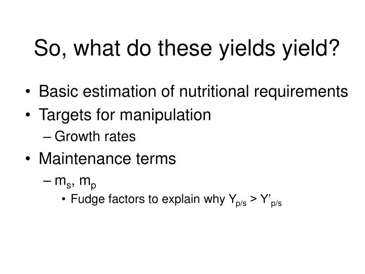 So, what do these yields yield?