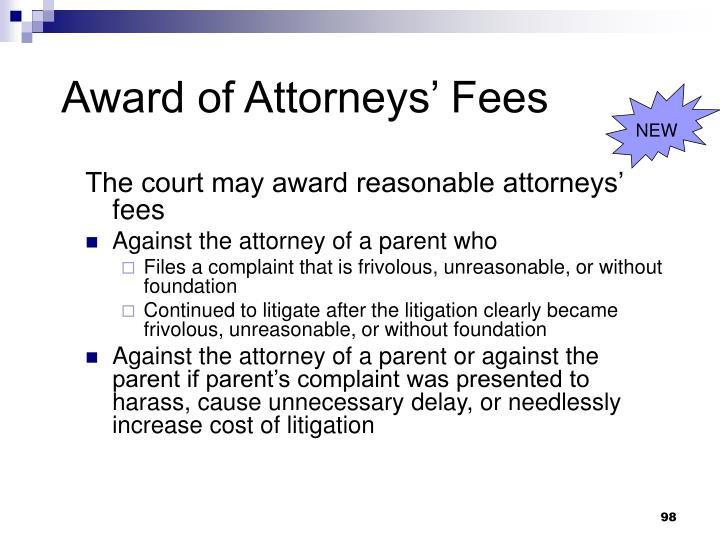 Award of Attorneys' Fees