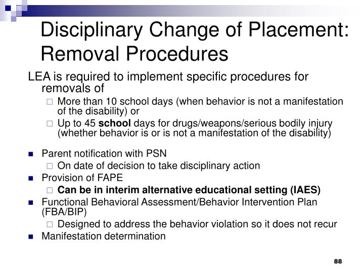 Disciplinary Change of Placement: Removal Procedures