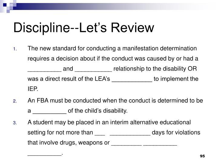 Discipline--Let's Review
