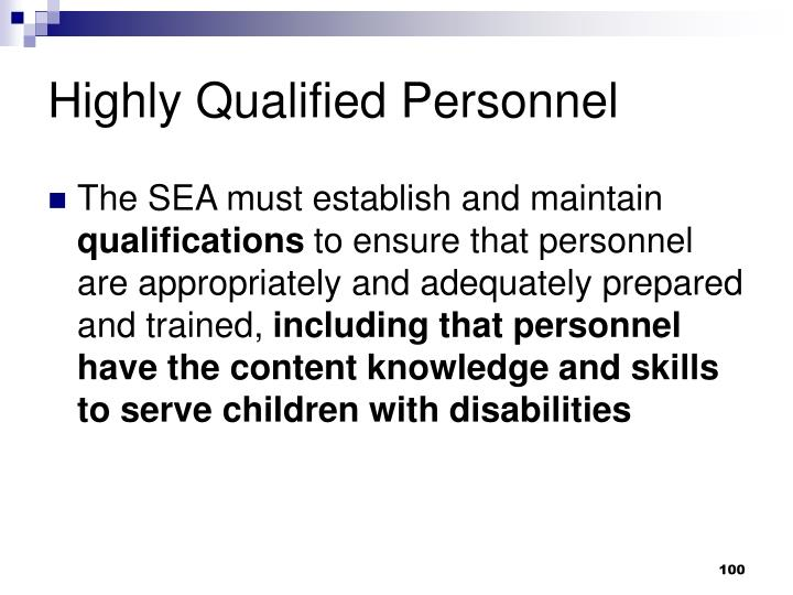 Highly Qualified Personnel