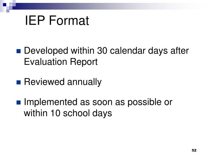 IEP Format