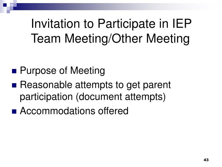 Invitation to Participate in IEP Team Meeting/Other Meeting