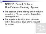 norep parent options due process hearing appeal