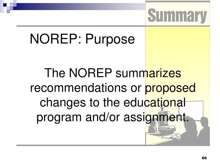 NOREP: Purpose
