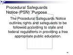 procedural safeguards notice psn purpose