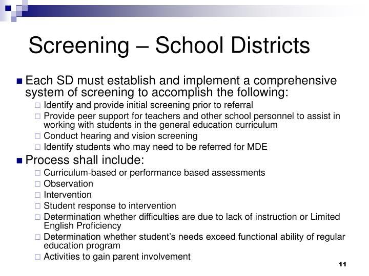 Screening – School Districts