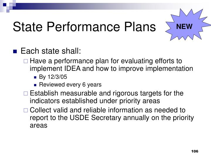 State Performance Plans