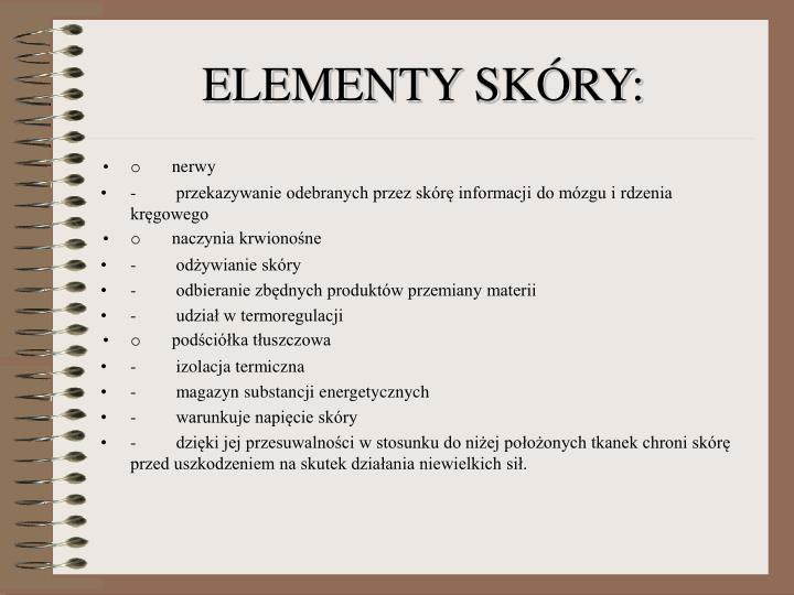 ELEMENTY SKÓRY: