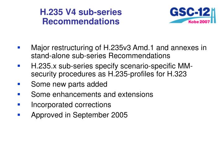 H.235 V4 sub-series Recommendations