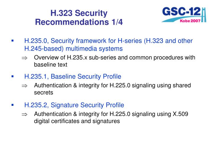 H.323 Security Recommendations 1/4