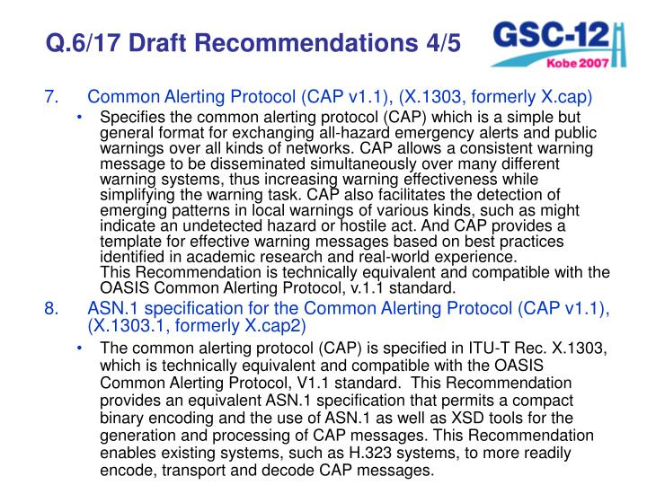 Q.6/17 Draft Recommendations 4/5