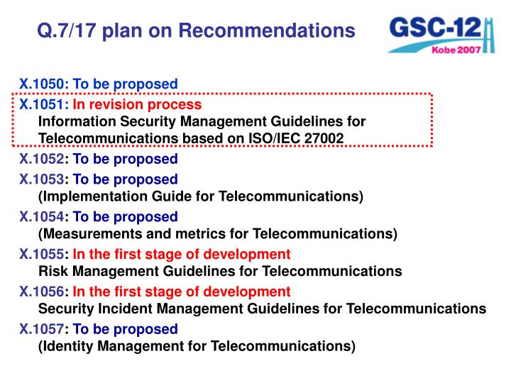Q.7/17 plan on Recommendations