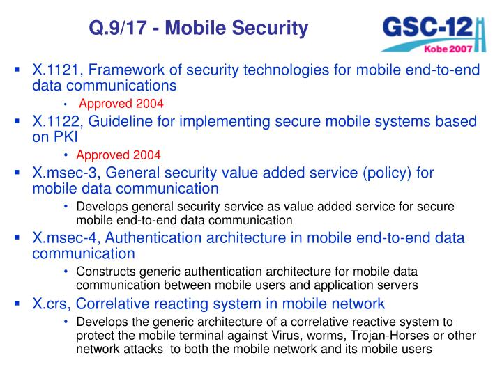 Q.9/17 - Mobile Security