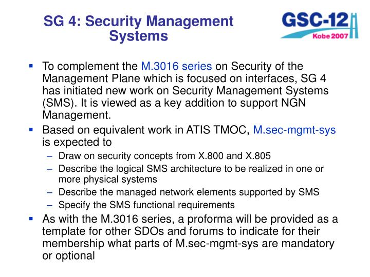 SG 4: Security Management Systems