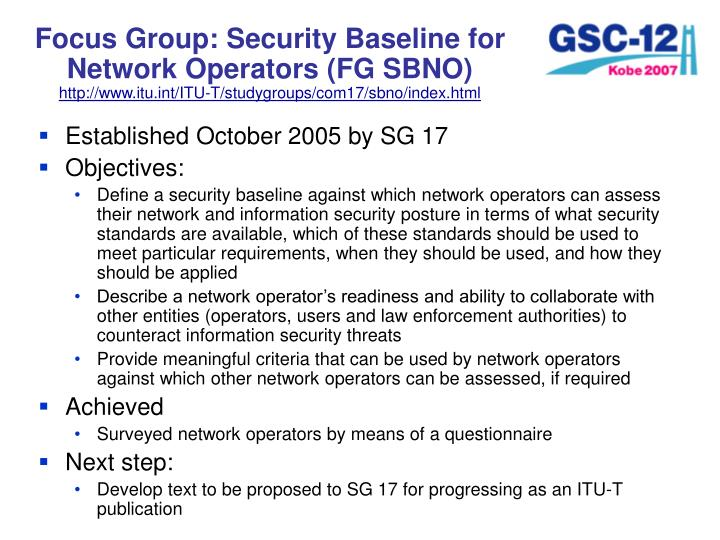 Focus Group: Security Baseline for Network Operators (FG SBNO)