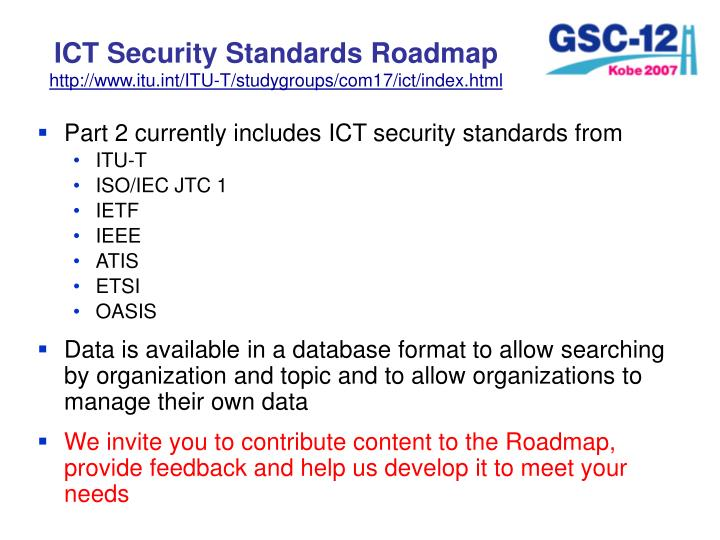 ICT Security Standards Roadmap