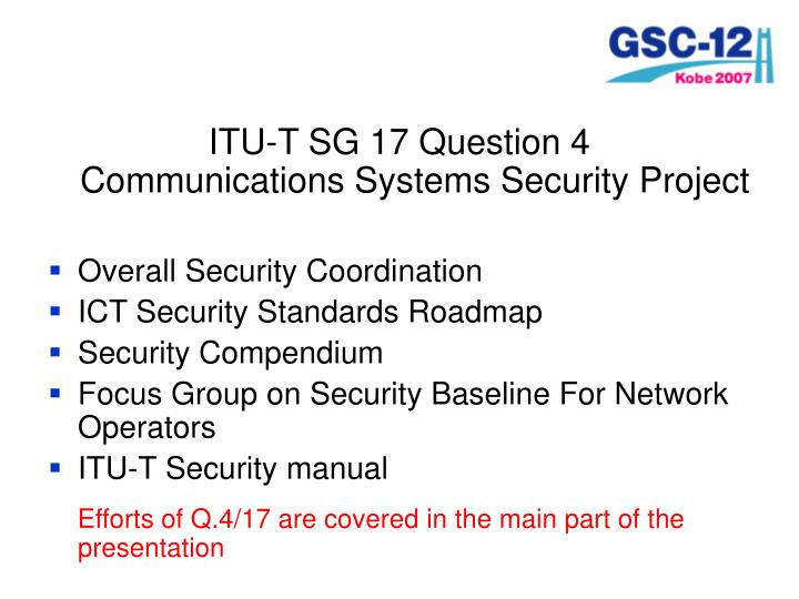 ITU-T SG 17 Question 4