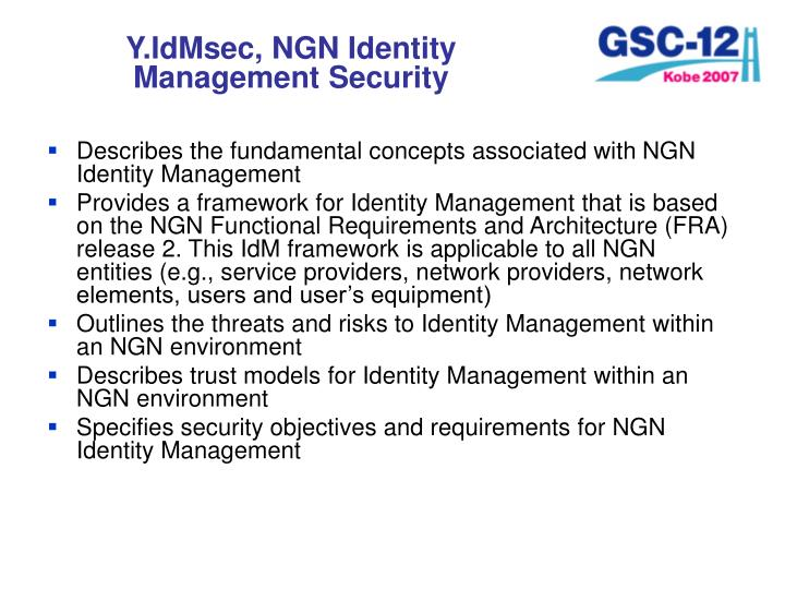 Y.IdMsec, NGN Identity Management Security