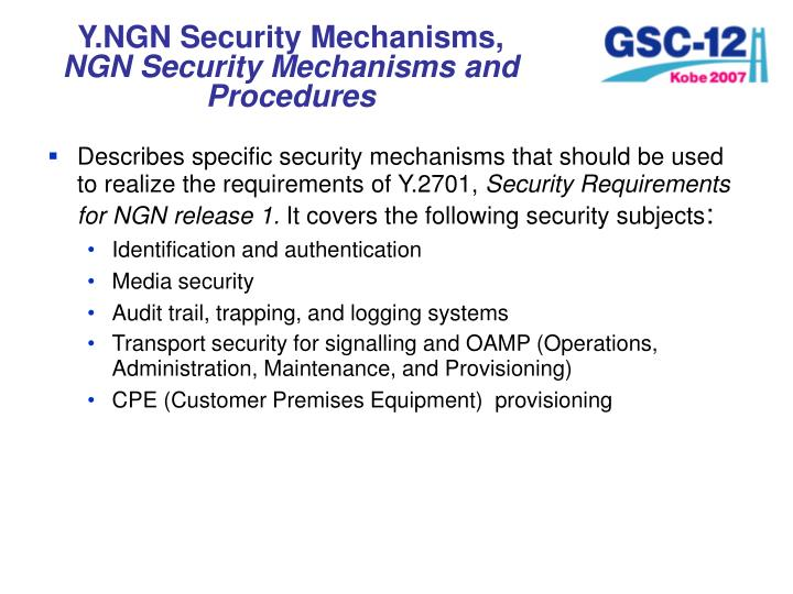 Y.NGN Security Mechanisms,