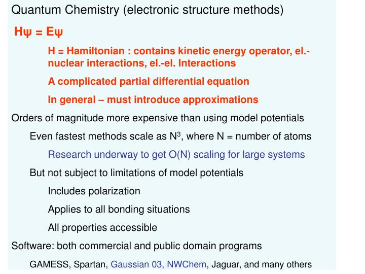 Quantum Chemistry (electronic structure methods)