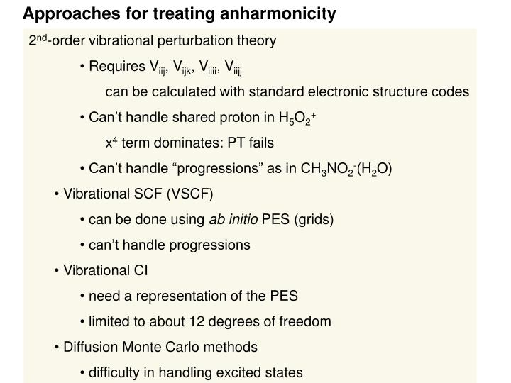 Approaches for treating anharmonicity
