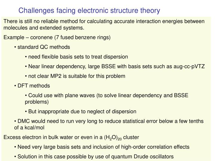 Challenges facing electronic structure theory