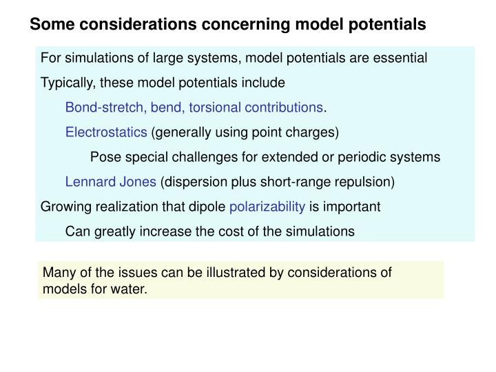 Some considerations concerning model potentials