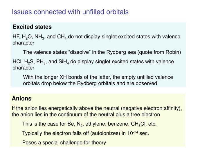 Issues connected with unfilled orbitals