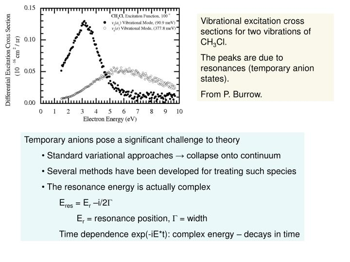 Vibrational excitation cross sections for two vibrations of CH