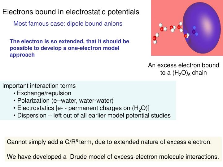Electrons bound in electrostatic potentials