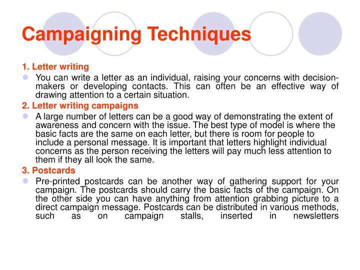 Campaigning Techniques