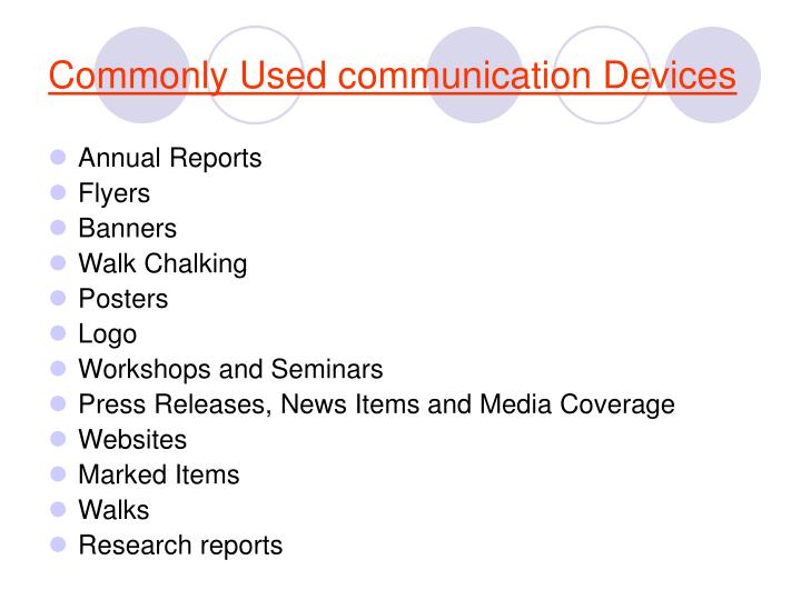 Commonly Used communication Devices