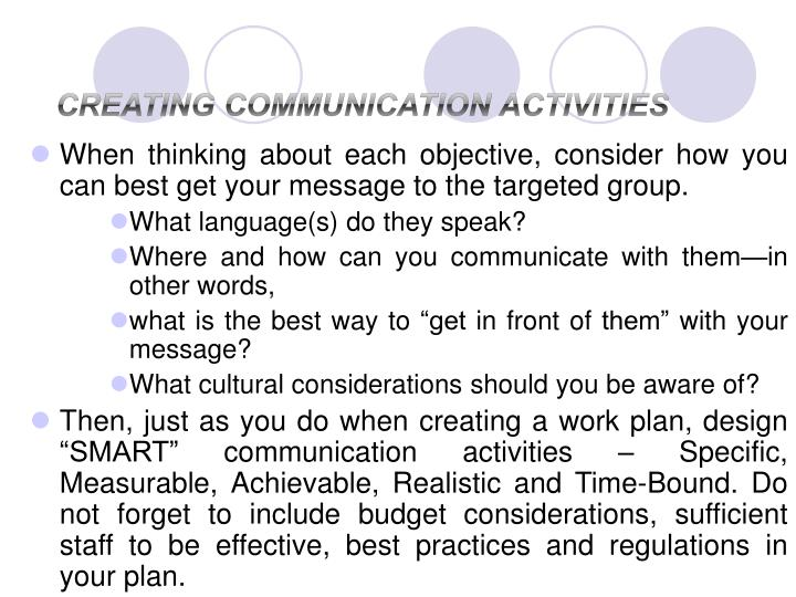 Creating Communication Activities