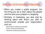 defining communication objectives