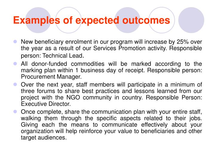 Examples of expected outcomes