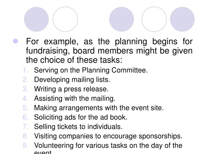 For example, as the planning begins for fundraising, board members might be given the choice of these tasks: