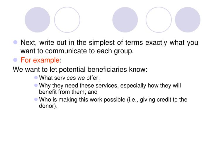 Next, write out in the simplest of terms exactly what you want to communicate to each group.