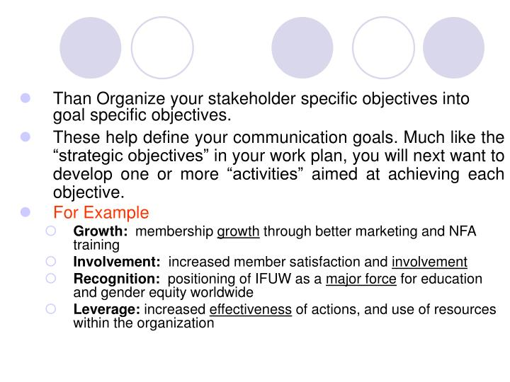 Than Organize your stakeholder specific objectives into goal specific objectives.