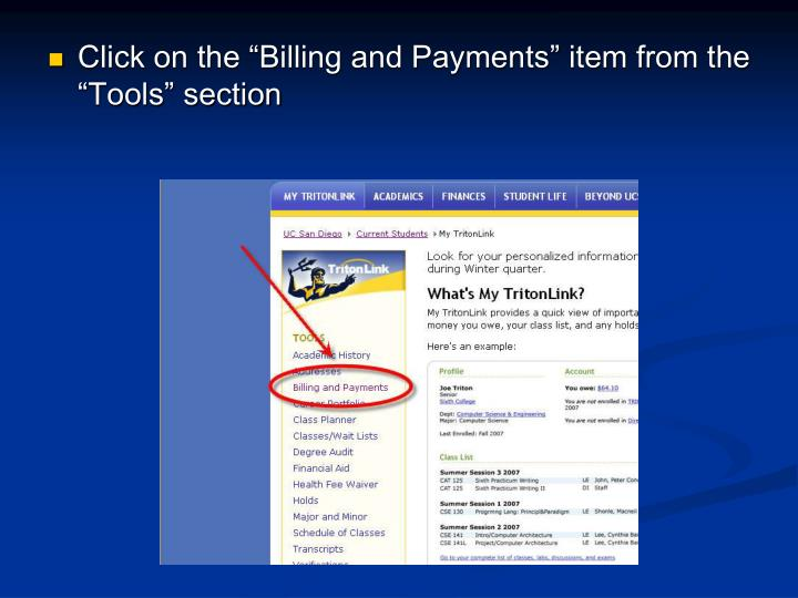 """Click on the """"Billing and Payments"""" item from the """"Tools"""" section"""